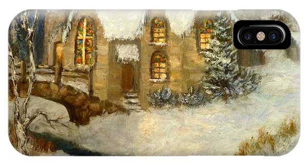 Church Snow Paintings IPhone Case