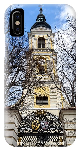 Church Tower With Wrought Iron Gate  Grossweikersdorf Austria IPhone Case