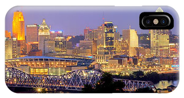 Downtown iPhone Case - Cincinnati Skyline At Dusk Sunset Color Panorama Ohio by Jon Holiday