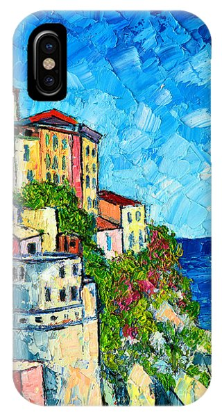Cinque Terre Italy Manarola Painting Detail 3 IPhone Case