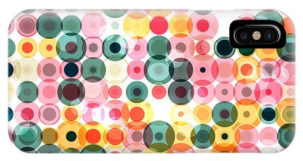 Pastel Colors iPhone Case - Circles Pattern Retro Background by Reuki