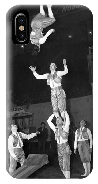 Barnum And Bailey iPhone Case - Circus Acrobats Practicing by Underwood Archives