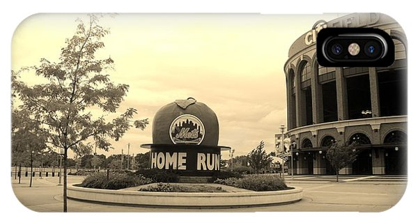 iPhone Case - Citi Field In Sepia by Rob Hans