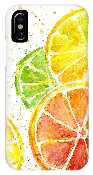 Grapefruit iPhone Case - Citrus Fruit Watercolor by Olga Shvartsur