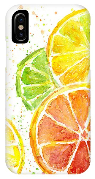 Grapefruit iPhone Case - Citrus Fruit Watercolor by Olga Shvartsur