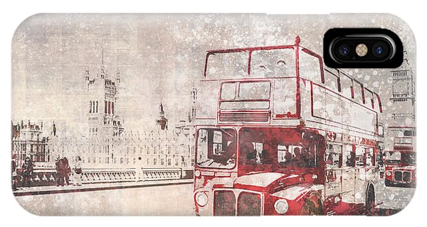Greater London iPhone Case - City-art London Red Buses II by Melanie Viola