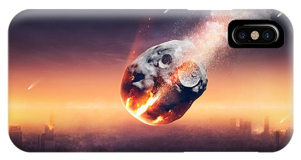 Explosion iPhone X Case - City Destroyed By Meteor Shower by Johan Swanepoel