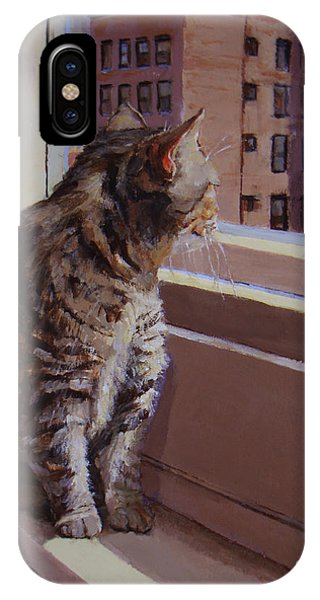 City Kitty Enjoys Her View IPhone Case
