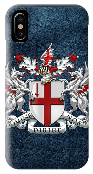 City Of London - Coat Of Arms Over Blue Leather  IPhone Case