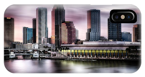 City Of Tampa Skyline At Dusk In Hdr IPhone Case