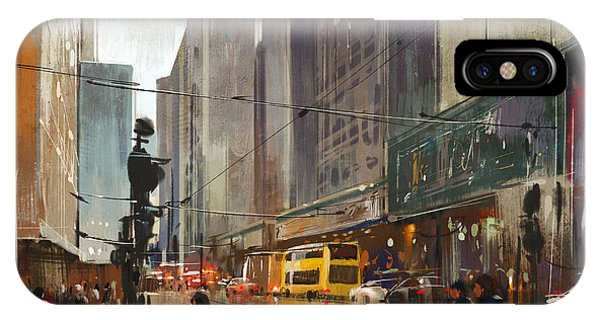 Decoration iPhone Case - City Street Digital by Tithi Luadthong