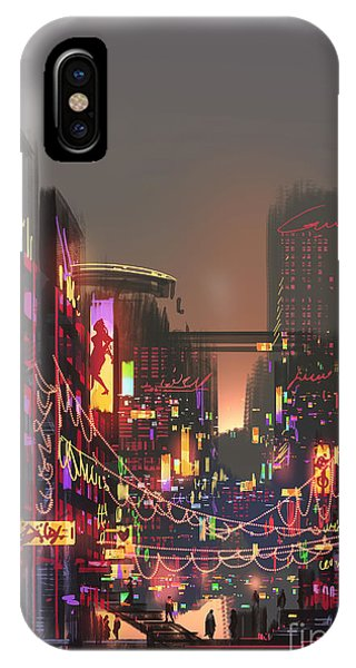 Town iPhone Case - Cityscape Digital Painting Of Building by Tithi Luadthong