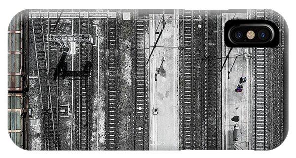Train Tracks iPhone Case - Civitavecchia Train Station by Zhou Chengzhou