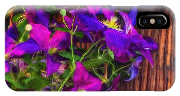 iPhone Case - Clamatis On The Fence-3 by Nancy Marie Ricketts