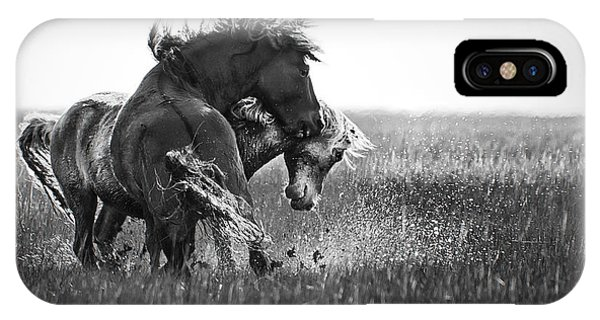 Clash Of Two Wild Stallions IPhone Case