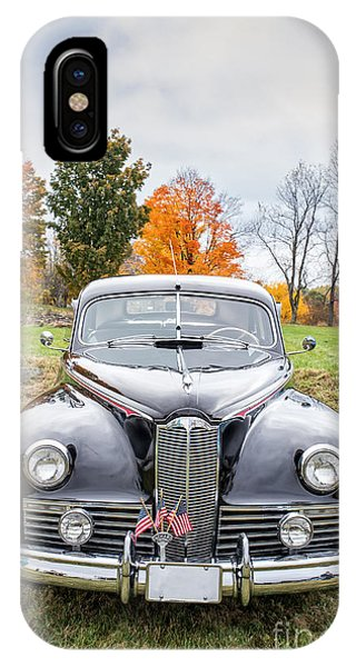 Auto Show iPhone Case - Classic Car In Autumn Farm Field by Edward Fielding