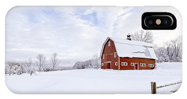 New England Barn iPhone Case - Classic New England Red Barn In Winter by Edward Fielding
