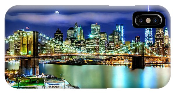 Full Moon iPhone Case - Classic New York Skyline by Az Jackson