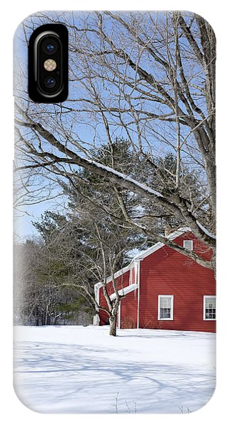 New England Barn iPhone Case - Classic Vermont Red House In Winter by Edward Fielding