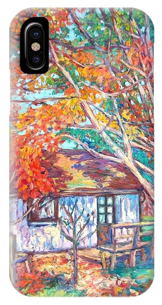 IPhone Case featuring the painting Claytor Lake Cabin In Fall by Kendall Kessler