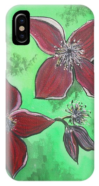 iPhone Case - Clematis Burgundy by Kathy Spall