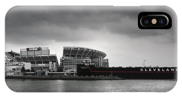 Docked Boats iPhone Case - Cleveland Browns Stadium From The Inner Harbor by Kenneth Krolikowski