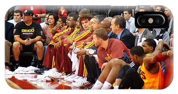 Kyrie Irving iPhone Case - Cleveland Cavaliers Bench by Brian Druggan