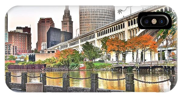 Inner World iPhone Case - Cleveland Panorama Over The Cuyahoga by Frozen in Time Fine Art Photography
