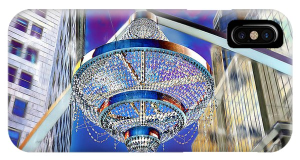IPhone Case featuring the photograph Cleveland Playhouse Square Outdoor Chandelier - 1 by Mark Madere