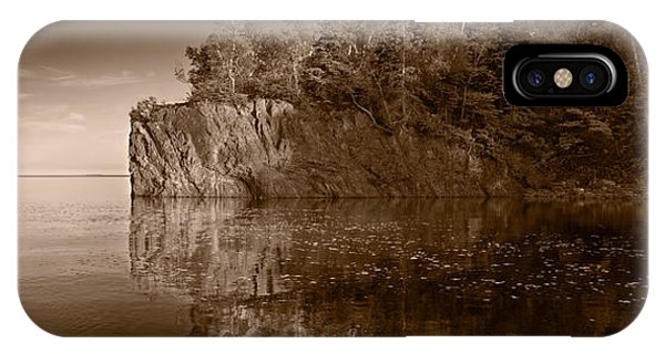 Lake Superior iPhone Case - Cliff Face Northshore Mn Bw by Steve Gadomski