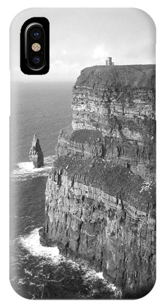 Cliffs Of Moher - O'brien's Tower B N W IPhone Case