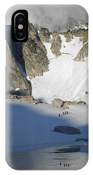 Climbers Enroute To The Bugaboo Snowpatch Col IPhone Case