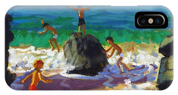 Violet iPhone Case - Climbing Rocks Porthmeor Beach St Ives by Andrew Macara
