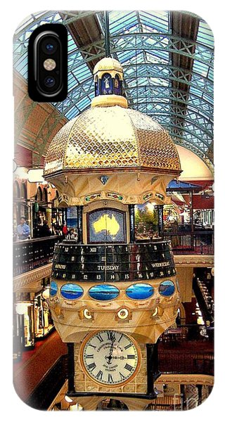 Clock In Sydney Mall Phone Case by John Potts