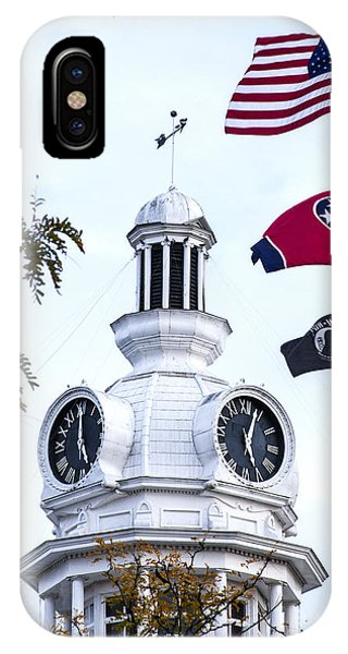 Clock Tower With Tennessee Mia Us Flag Art IPhone Case