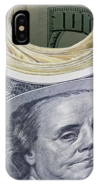 Close-up Of A Roll Of Us $100 Bills IPhone Case