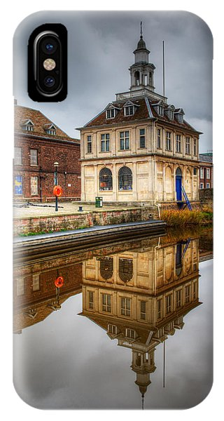 Close-up Of Historic Customs House And Dramatic Reflection IPhone Case