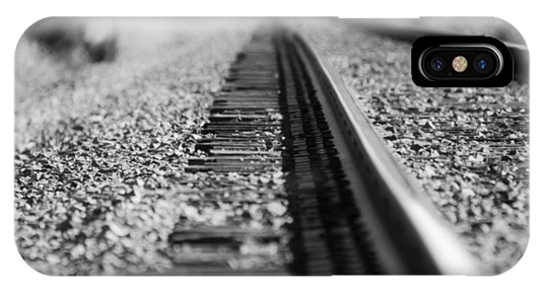 Close Up Of Rail Road Tracks IPhone Case