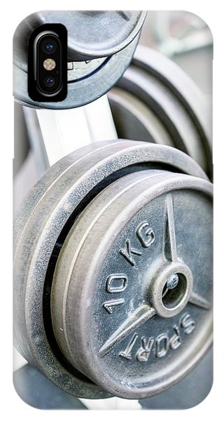 Close-up Of Weight Plates Phone Case by Science Photo Library