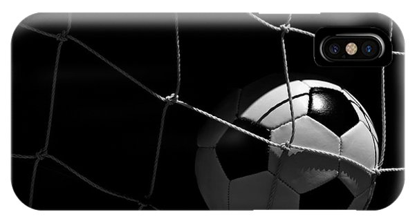 Closeup Of Soccer Ball In Goal IPhone Case