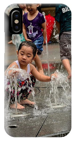 Clothed Children Play At Water Fountain IPhone Case
