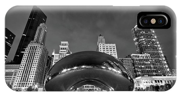Great White Shark iPhone Case - Cloud Gate And Skyline by Adam Romanowicz