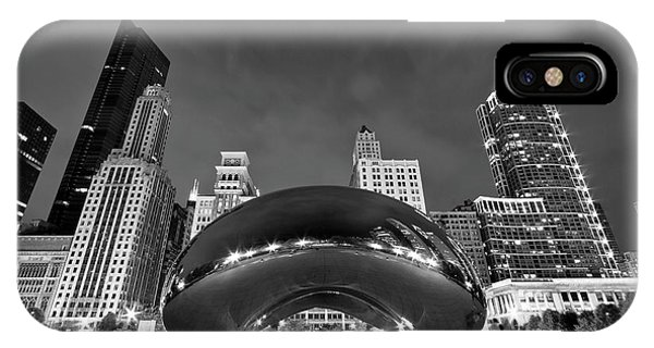 Monochrome iPhone Case - Cloud Gate And Skyline by Adam Romanowicz