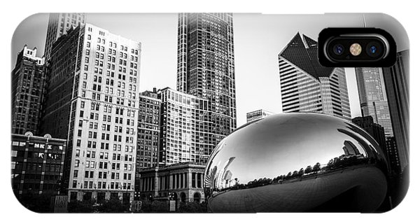 Skyline iPhone Case - Cloud Gate Bean Chicago Skyline In Black And White by Paul Velgos