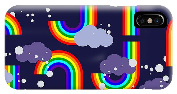 Cloudscape iPhone Case - Clouds And Rainbow Cartoon Wallpaper by Tomka