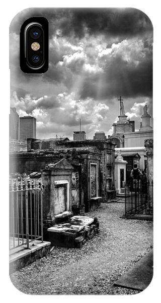 Cloudy Day At St. Louis Cemetery In Black And White IPhone Case