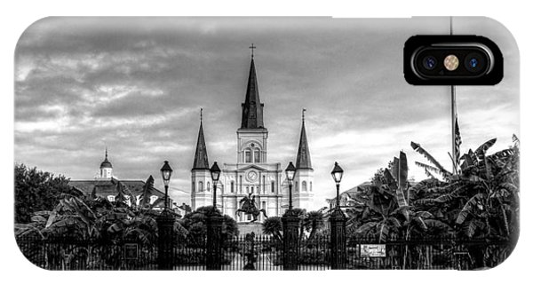 Cloudy Morning At  St. Louis Cathedral In Black And White IPhone Case