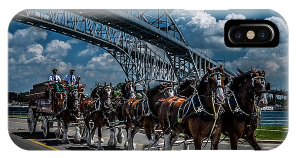 Clydesdales And Blue Water Bridges IPhone Case