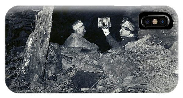 20th Century Man iPhone Case - Coal Miners With A Canary by Miriam And Ira D. Wallach Division Of Art, Prints And Photographs/new York Public Library