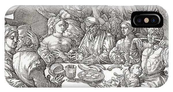 Behaviour iPhone Case - Coarse Behaviour At The Dining Table During The Renaissance Period.  After A Spanish Copper by Bridgeman Images